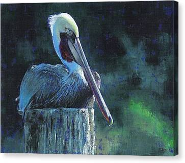 Sea Birds Canvas Print - Sitting On The St Marks by Pam Talley