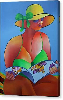 Canvas Print featuring the painting Sitting Pretty by Karin Eisermann