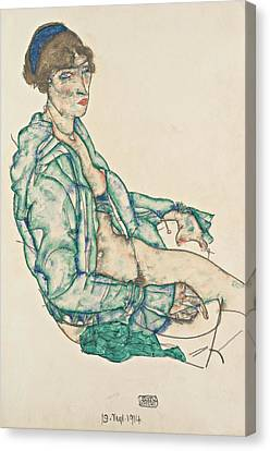 Sitting Semi-nude With Blue Hairband Canvas Print by Egon Schiele