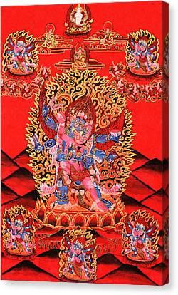 Six-armed Winged Mahakala In Yab Yum Canvas Print by Lanjee Chee