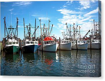 Canvas Print featuring the photograph Six Boats In The Bay by John Rizzuto