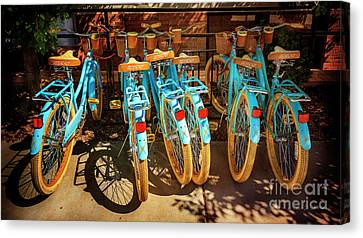 Canvas Print featuring the photograph Six Huffy Bicycles by Craig J Satterlee