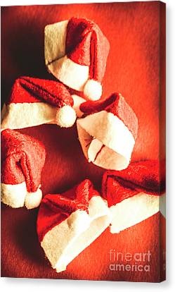 Six Santa Hats In Vintage Tone Canvas Print