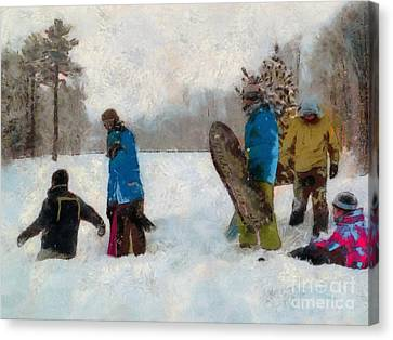 Six Sledders In The Snow Canvas Print by Claire Bull