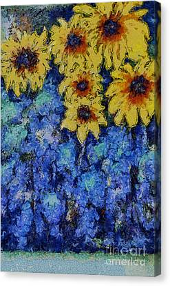 Six Sunflowers On Blue Canvas Print by Claire Bull