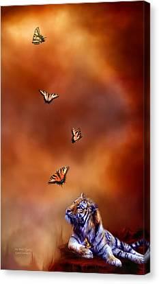 Six Wild Tigers Canvas Print by Carol Cavalaris
