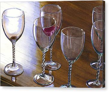 Six Wine Glasses Canvas Print by Catherine G McElroy