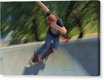Skateboard Action Canvas Print by Kae Cheatham