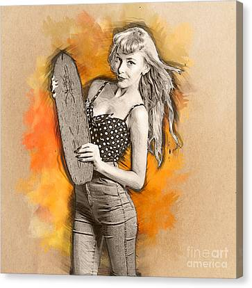 Skateboard Pin-up Illustration Canvas Print by Jorgo Photography - Wall Art Gallery