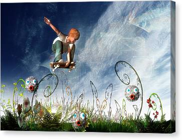Skateboarder And Friends Canvas Print by Carol and Mike Werner