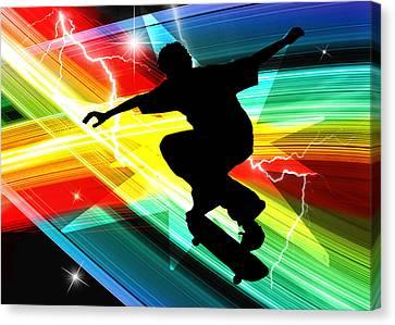 Skateboarder In Criss Cross Lightning Canvas Print by Elaine Plesser
