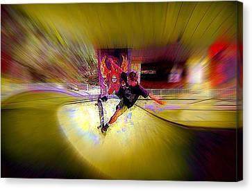 Canvas Print featuring the photograph Skateboarding by Lori Seaman