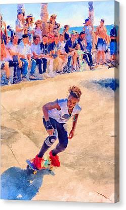 Skateboarding Canvas Print by SM Shahrokni