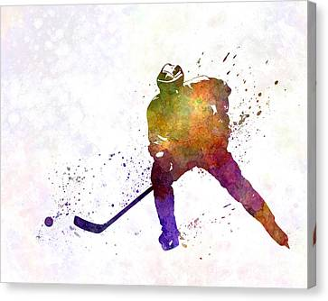 Hockey Games Canvas Print - Skater Of Hockey In Watercolor by Pablo Romero
