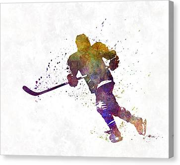 Hockey Canvas Print - Skater With Stick In Watercolor by Pablo Romero