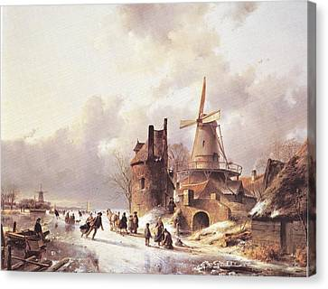 Skaters On A Frozen River Canvas Print