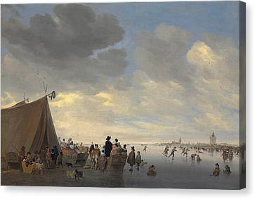 Skaters On The Frozen River Lek, The Town Of Vianen Beyond Canvas Print by Salomon van Ruisdael or Ruysdael