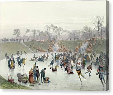 Skaters On The Lake At Bois De Boulogne Canvas Print by Ice Skaters on the Lake at Bois de Boulogne