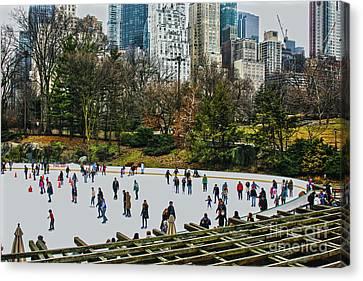 Skating At Central Park Canvas Print by Sandy Moulder