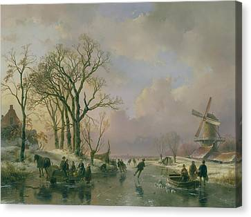Skating In Holland Canvas Print by Andreas Schelfhout