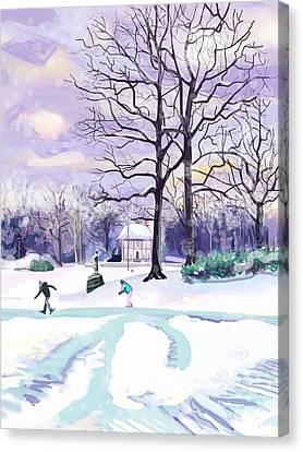 Finger Lakes Canvas Print - Skating In Huis Ter Heide by Plum Ovelgonne