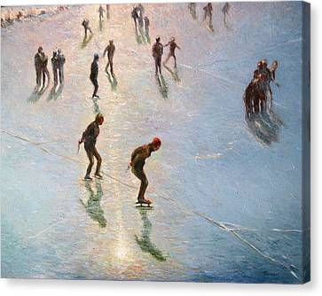 Skating In The Sunset  Canvas Print by Pierre Van Dijk