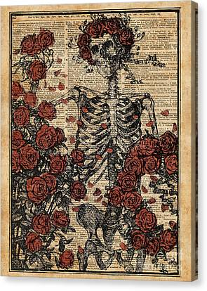 Skeleton Art, Skeleton With Roses Book Art,human Anatomy Canvas Print by Jacob Kuch