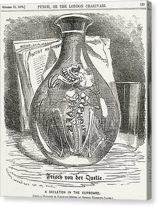 Skeleton In Bottle Of Water 19th Century Depiction Of Typhoid Canvas Print by English School