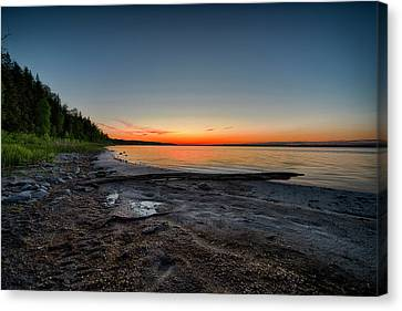 Canvas Print featuring the photograph Skeleton Lake Beach At Sunset by Darcy Michaelchuk