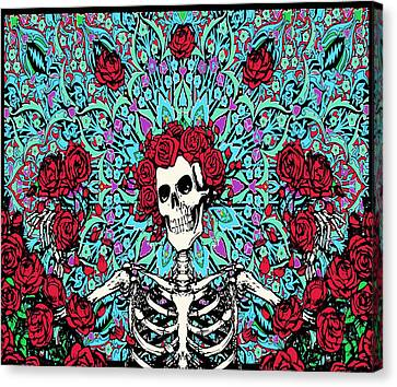 skeleton With Roses Canvas Print by Gd