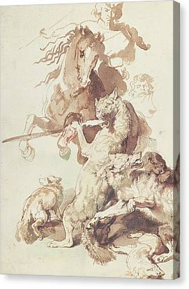 Sketch For A Wolf Hunt Canvas Print by Peter Paul Rubens