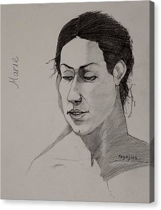 Canvas Print featuring the drawing Sketch For Marie 2 by Ray Agius