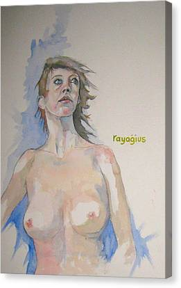 Canvas Print featuring the painting Sketch For Megan V by Ray Agius