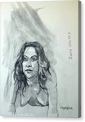 Canvas Print featuring the painting Sketch For Sera.10.01 by Ray Agius