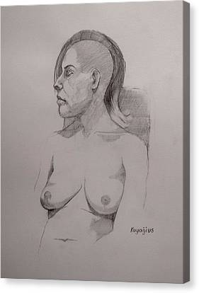 Canvas Print featuring the drawing Sketch For Sitting Cassie by Ray Agius