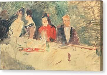 Sketch For The Supper Canvas Print by Henri De Toulouse-Lautrec