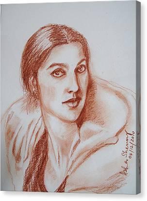 Sketch In Conte Crayon Canvas Print