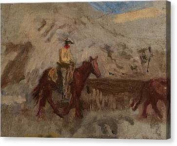 Sketch Of A Cowboy At Work  Canvas Print by Thomas Eakins