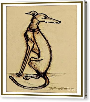 Greyhound Canvas Print -  Sketch  Of  A   Greyhound  Dog by MaryLee Parker