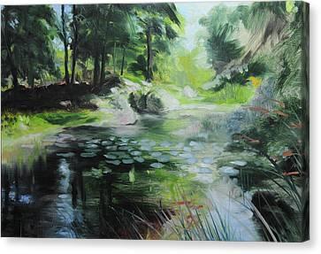 Sketch Of A Pond At Port Meirion Canvas Print