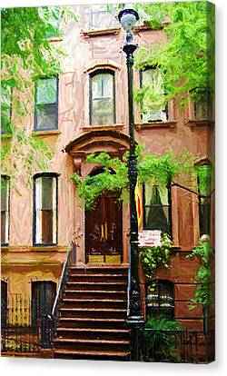 Times Square Canvas Print - Sketch Of Carrie Bradshaw Greenwich Village Brownstone by Randy Aveille