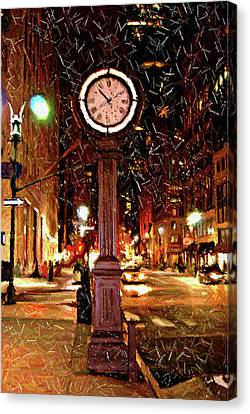 Sketch Of Midtown Clock In The Snow Canvas Print by Randy Aveille