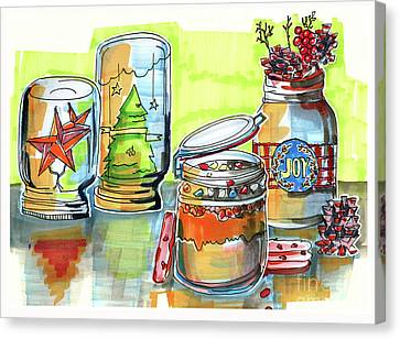Canvas Print featuring the drawing Sketch Of Winter Decorative Jars  by Ariadna De Raadt