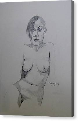 Canvas Print featuring the drawing Sketch Reclining Cassie by Ray Agius