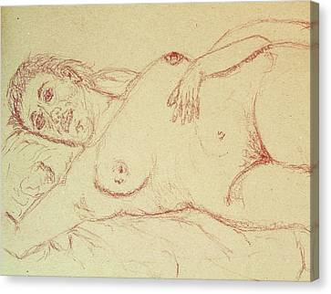 Nude Laying In Red Canvas Print by Rand Swift