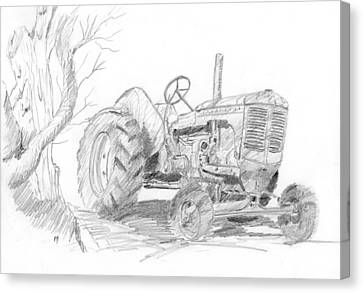 Sketchy Tractor Canvas Print