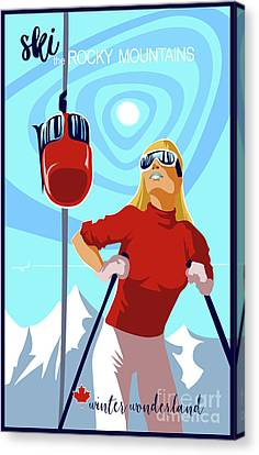 Ski Bunny Retro Ski Poster Canvas Print