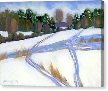 Ski Trails Canvas Print by Mary Byrom