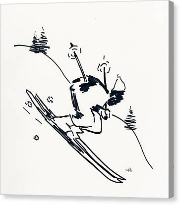 Skier II Canvas Print by Winifred Kumpf
