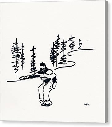 Skier Vii Canvas Print by Winifred Kumpf
